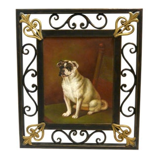 1960s Vintage Original Oil on Board Portrait of Sitting Dog Framed Painting For Sale