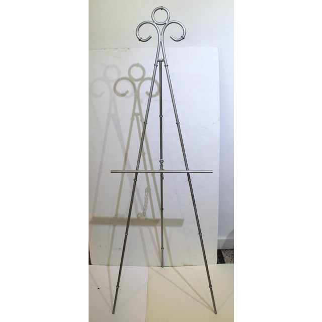 Vintage Display Easel Silver Toned Iron For Sale - Image 9 of 9