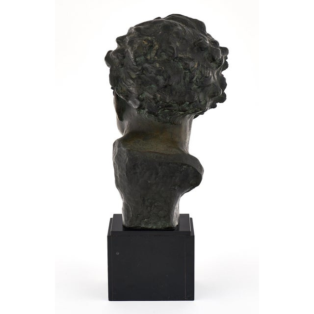 Black Art Deco Spelter Bust of Jean-Mermoz Sculpture For Sale - Image 8 of 10