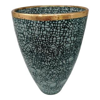 Italian Crackled Emerald Green Ceramic Vase With Gold Rim For Sale