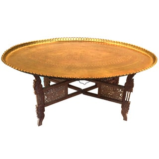 Vintage Large Scale Oval Moroccan Brass Tray Table With Folding Stand For Sale