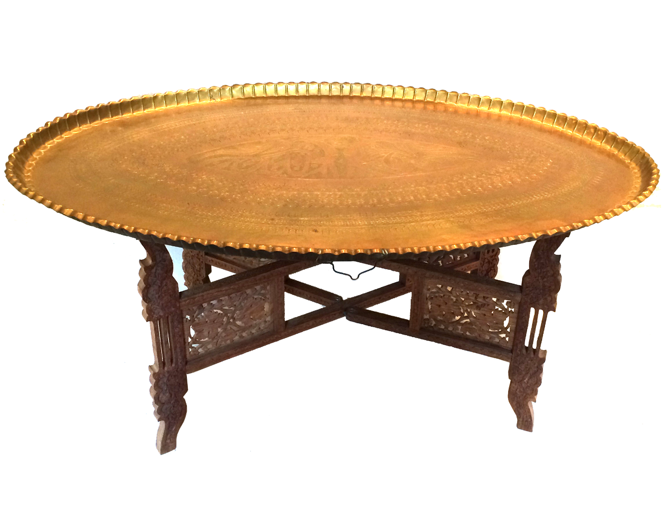 Merveilleux Vintage Moroccan Brass Tray Table With Stand   Image 1 Of 9