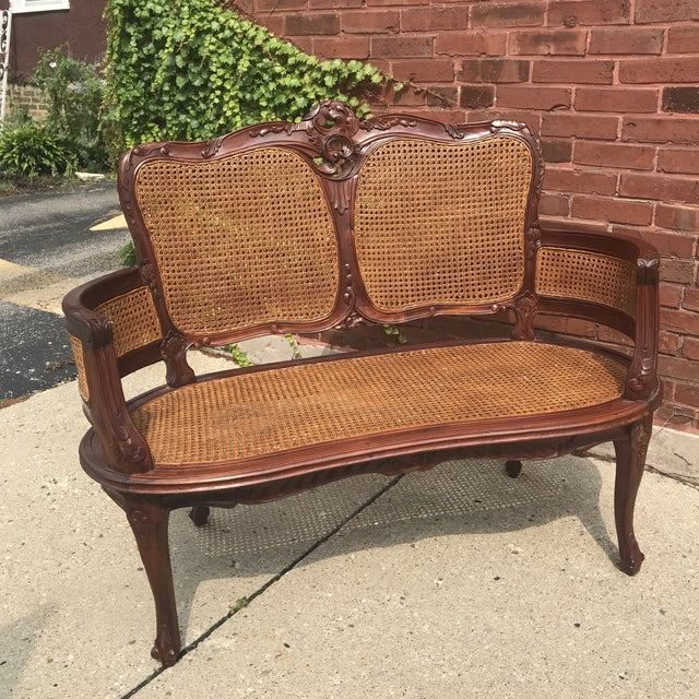 Caning Vintage Italian Curved Caned Loveseat For Sale - Image 7 of 10