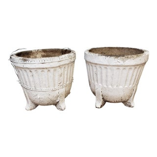 19th Century French Ribbed Footed Concrete Planters - a Pair For Sale