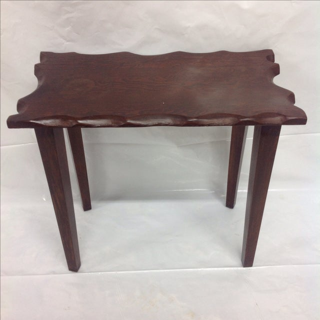 Mid Century Craftsman Style Dark Wood Side Table. Lovely details on the edge.