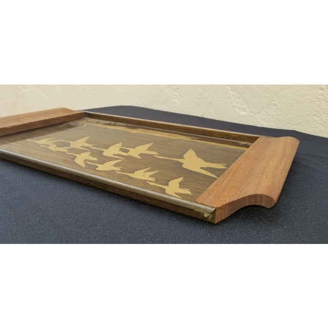 1960s Vintage Mid-Century Brass Etched Tray With Flying Ducks and Walnut Wood Handles For Sale - Image 5 of 9