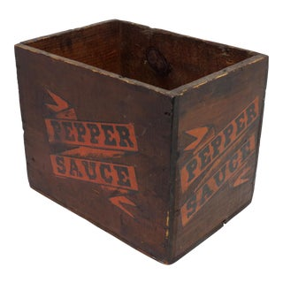 Early 20th Century Antique Wood Pepper Sauce Shipping Box For Sale