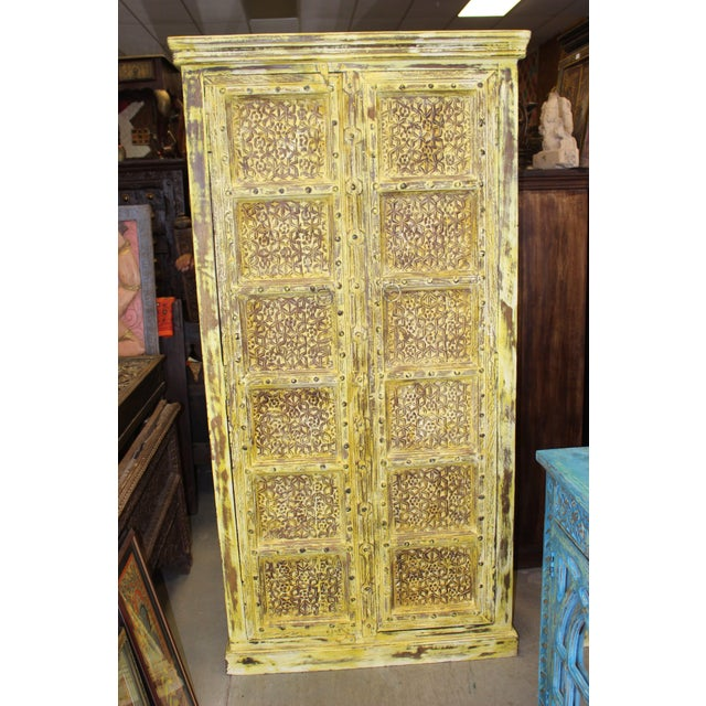 1920s Vintage Yellow Antique Carved Detail Indian Armoire For Sale - Image 5 of 8