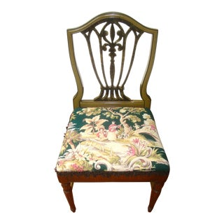 Chinoiserie Barkcloth Shield Back Desk Chair Dining Chair For Sale