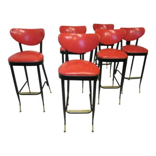 Italian Styled Mid Century Bar Stools - Set of 6 For Sale