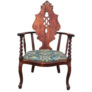 19th Century Victorian Barley Twist Carved Walnut Accent Chair For Sale