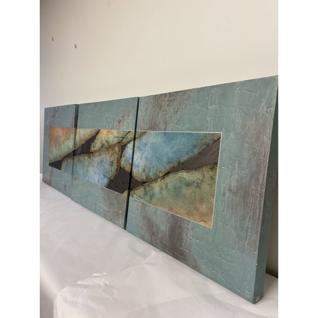 Mid-Century Three Piece Mixed Media Painting For Sale - Image 10 of 12