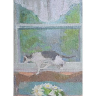 Original Painting on Canvas | Window View With Cat by Michelle Farro For Sale