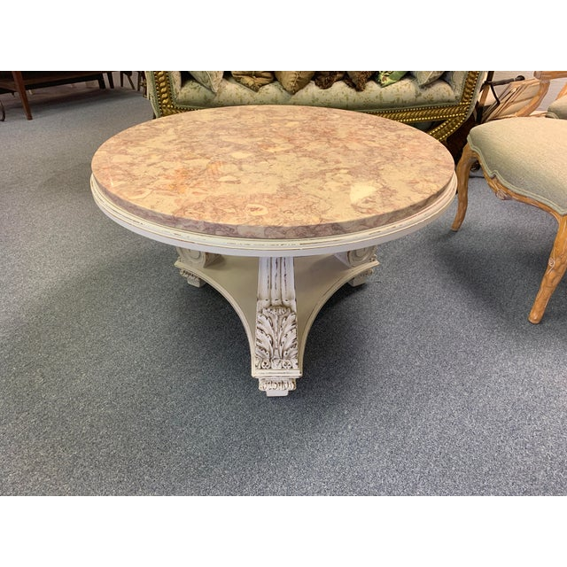 Hollywood Regency French Neoclassical Aurora Blush Marble Coffee Table For Sale - Image 3 of 9