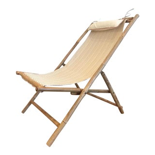 Beach Theme Bamboo and Scalamandre Fabric Chair For Sale