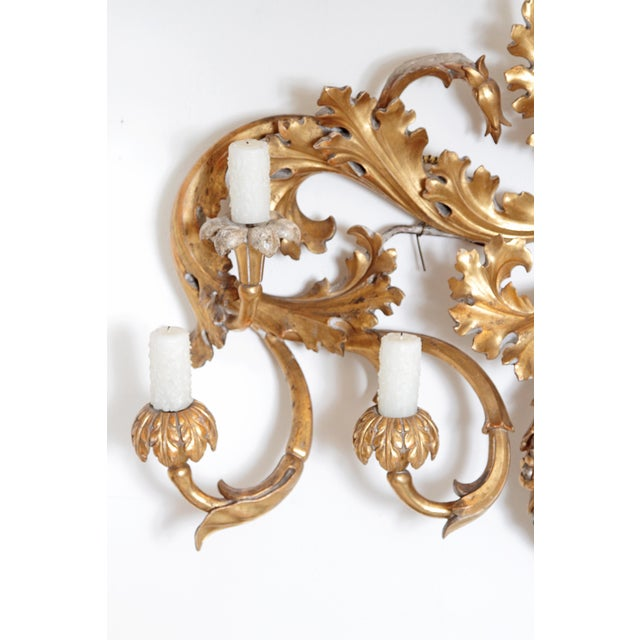 Baroque Oversized Italian Baroque-Style 7-Arm Gilt and Silvered Wood Wall Sconce For Sale - Image 3 of 13