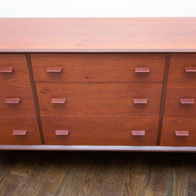 Brown Danish Modern Poul Volther Style Teak Triple Dresser For Sale - Image 8 of 9