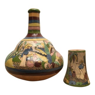 1930s Vintage Mexican Ceramic Pottery Carafe Botellone Vase & Cup For Sale