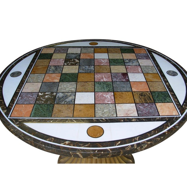 Italian Pieta Dura Inlaid Marble Specimen and Cast Iron Center Table For Sale - Image 3 of 7