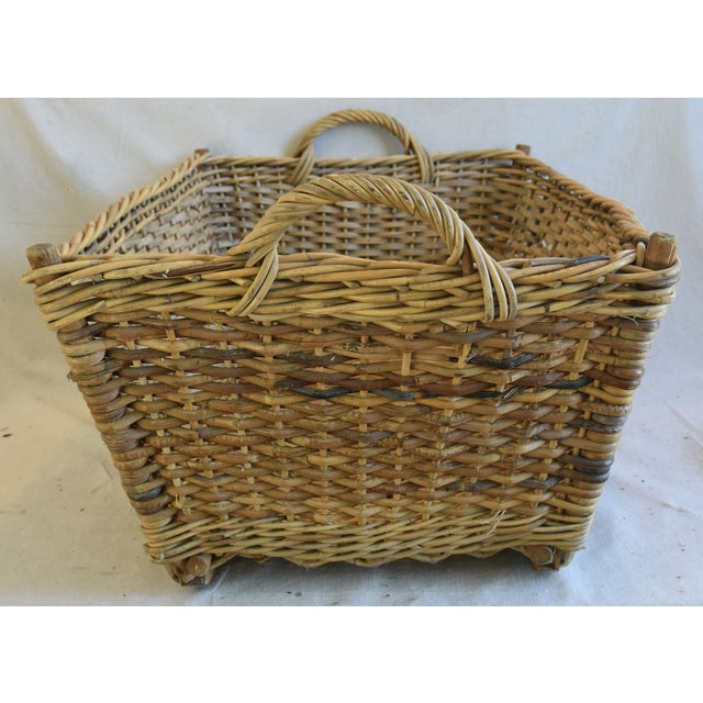 Americana Large Early 1900s French Woven Wicker/Willow Market Basket For Sale - Image 3 of 11