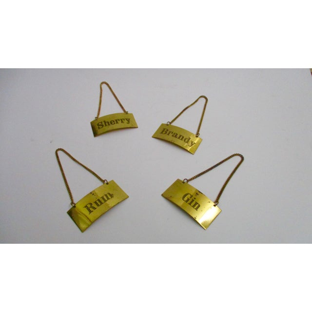 Italian Brass Liquor Tags Labels - Set of 4 For Sale - Image 11 of 11