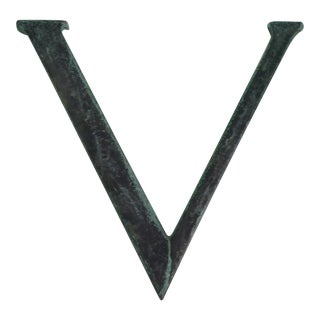 Vintage Bronze Letter 'V' For Sale
