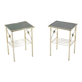 1960s French Gilded Metal and Black Opaline Glass End Tables - a Pair For Sale