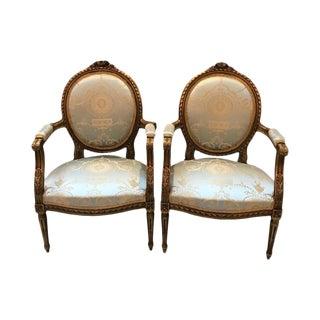 Vintage Louis XVI Gilt Wood Chairs-a Pair For Sale