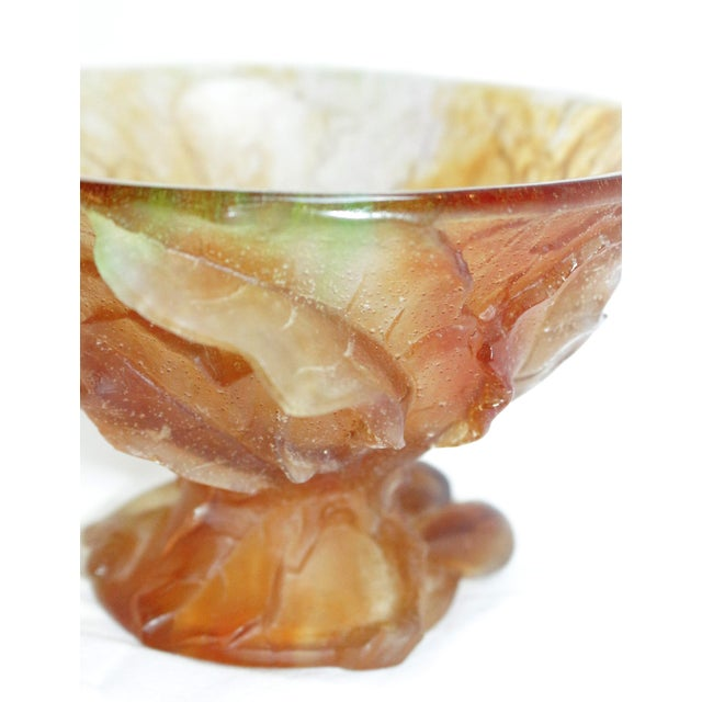 Glass Mid 20th Century Daum Pate De Verre Art Glass Compote of Figs and Leaves For Sale - Image 7 of 10