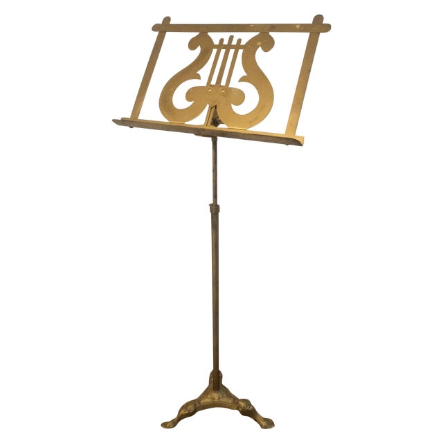 vintage neoclassical brass music stand chairish. Black Bedroom Furniture Sets. Home Design Ideas