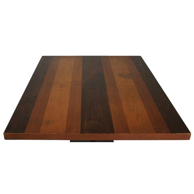 1960s Milo Baughman Rosewood & Black Iron Occasional Table For Sale - Image 5 of 7