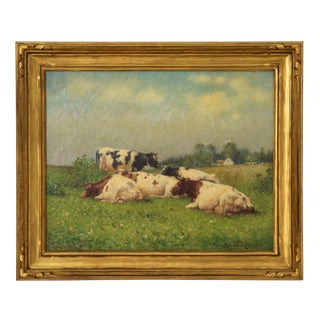 Pastoral Landscape Antique Painting of Cows by Frank Russell Green (American, 1856-1940) For Sale