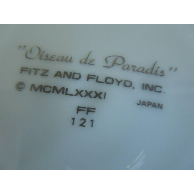 """Fitz and Floyd 1981 """"Oiseau De Paradis"""" Dessert Plates by Fitz and Floyd - Set of 10 For Sale - Image 4 of 6"""