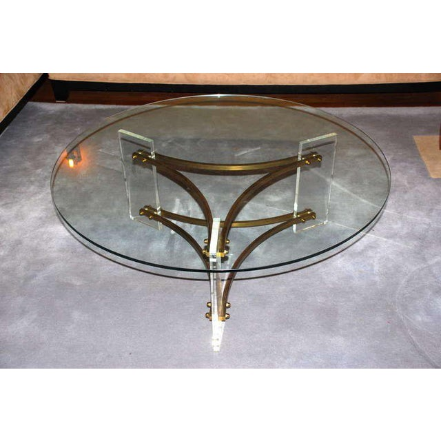 Charles Hollis Jones Lucite, brass, and glass coffee and cocktail table.