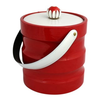 Mid Century Modern Ice Bucket Red Faux Patent Leather and White Plastic with Daisy Knob For Sale