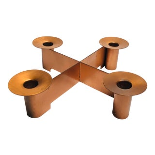 Copper Candle Holder by Albert Reimann for Chase For Sale