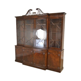 Trosby George III Style Large Mahogany & Yew Wood Breakfront For Sale