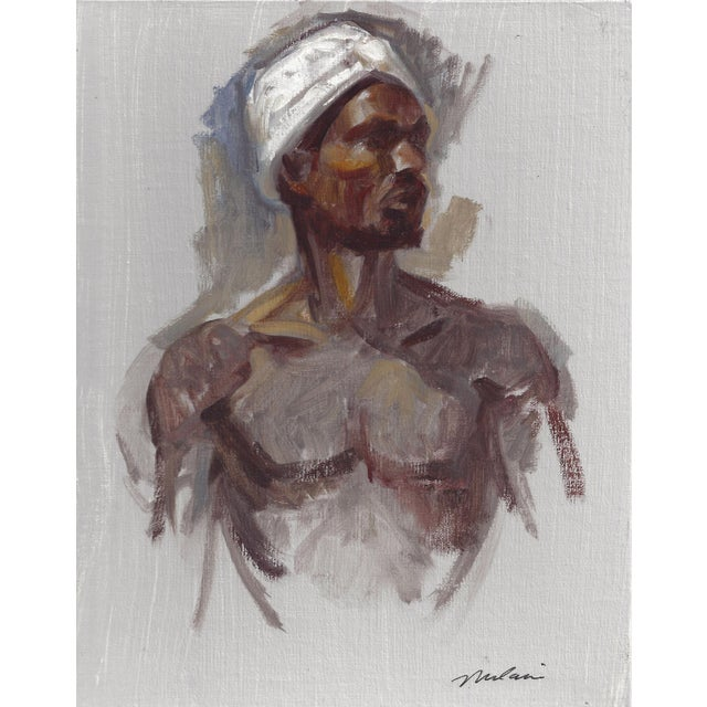 """Peter Oil Painting """"Man With Turban 1"""", Contemporary Nude Figure For Sale In West Palm - Image 6 of 6"""