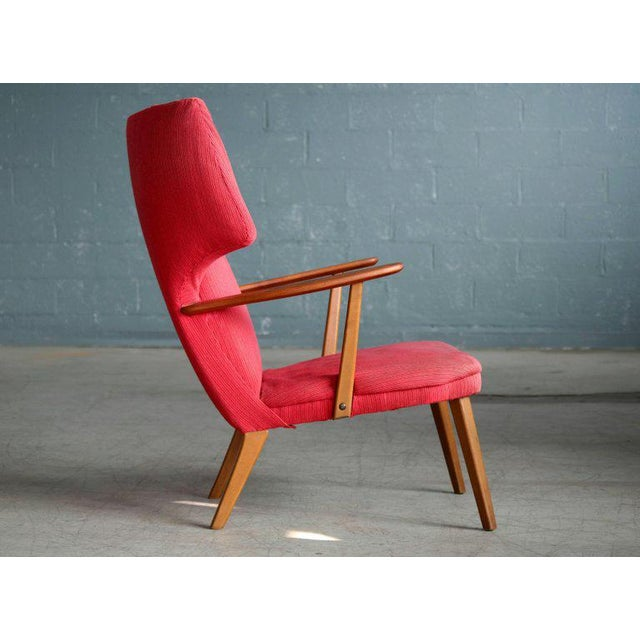 Fabric Danish 1950's Madsen and Schubell High Back Lounge Chair in Teak and Oak For Sale - Image 7 of 11