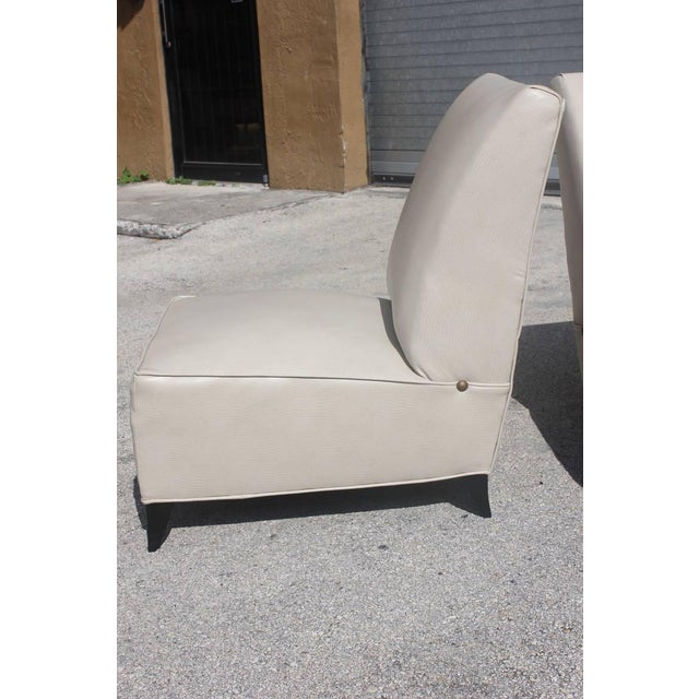 French Art Deco Armless Club Chairs - Pair - Image 6 of 8