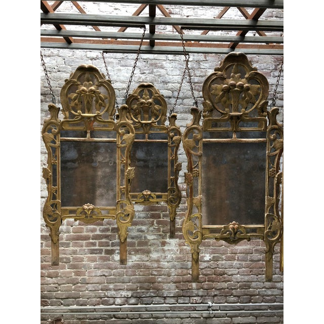 18th Century Louis XV Carved Gilt Wood Mirrors, Exceptionnel Set of Three. For Sale - Image 4 of 13