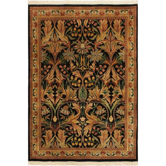 Black Art Nouveau International Pak-Persian Latanya Black/Ivory Wool Rug - 4'1 X 5'1 For Sale - Image 8 of 8