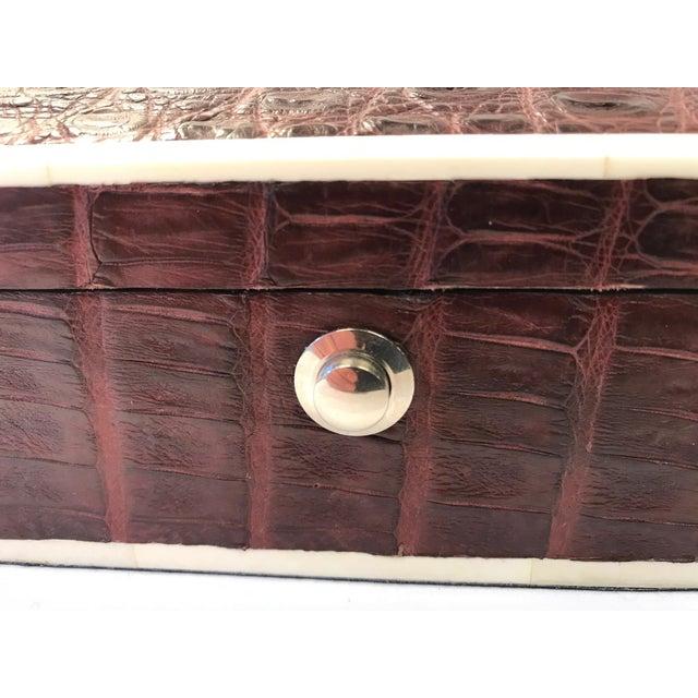 2010s Bone Inlay Brown Crocodile Box For Sale - Image 5 of 10