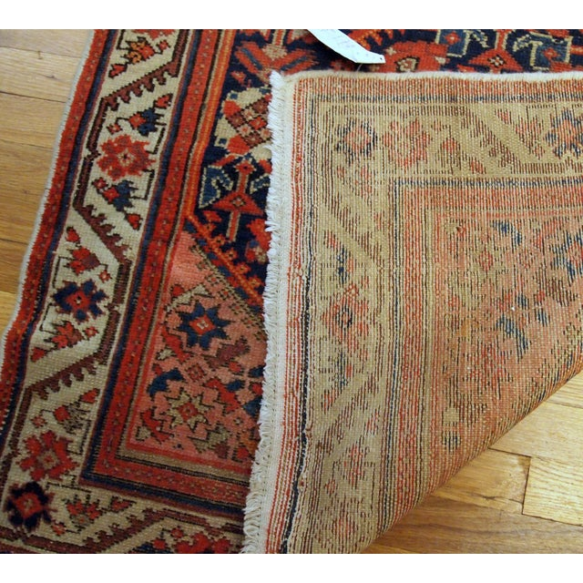 1900s Handmade Antique Persian Malayer Runner 3.1' X 12.3' For Sale - Image 4 of 9