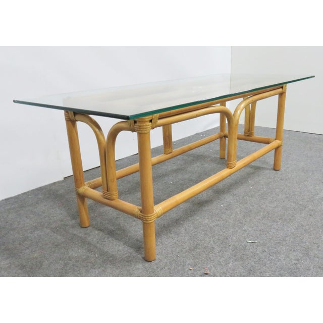 Mid Century Modern Rattan Glass Top Coffee Table For Sale In Philadelphia - Image 6 of 6