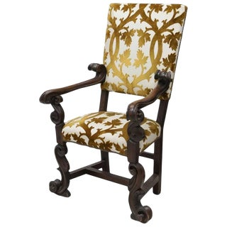 Italian Baroque Style Carved Walnut Armchair, 19th Century For Sale