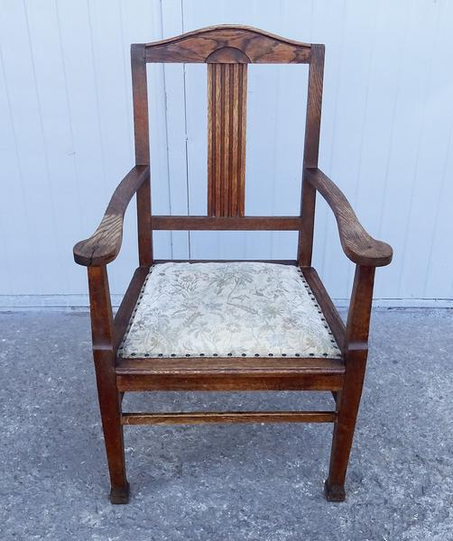 Antique Wood Dining Arm Chair   Image 2 Of 10