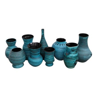 Set of nine Blue Banded Ceramic Vases 'Gaulois' by Accolay, France, 1960s For Sale