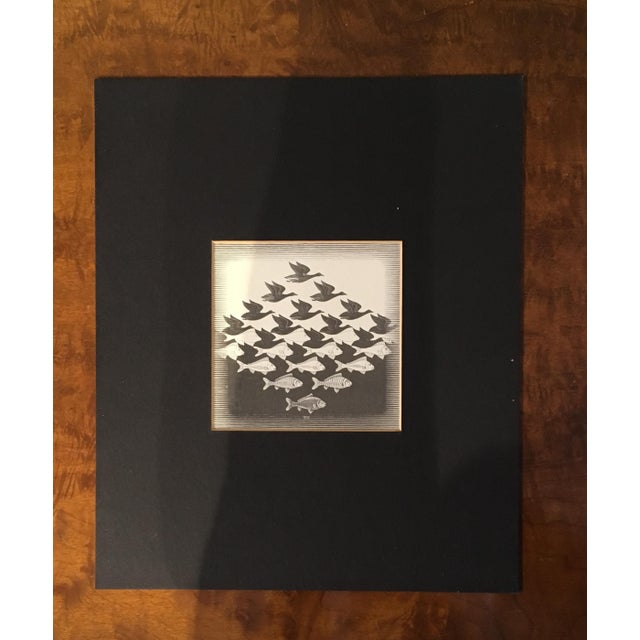 Late 20th Century 20th Century Surrealist Framed M. C. Escher Sky and Water Print For Sale - Image 5 of 7