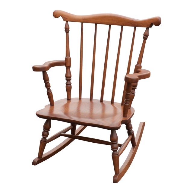 vintage child size colonial wood rocking chair chairish